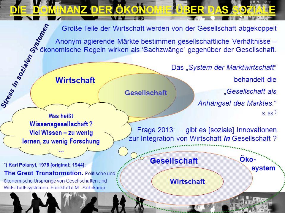 DIE DOMINANZ DER ÖKONOMIE ÜBER DAS SOZIALE Wirtschaft Frage 2013:... gibt es [soziale] Innovationen zur Integration von Wirtschaft in Gesellschaft ? G