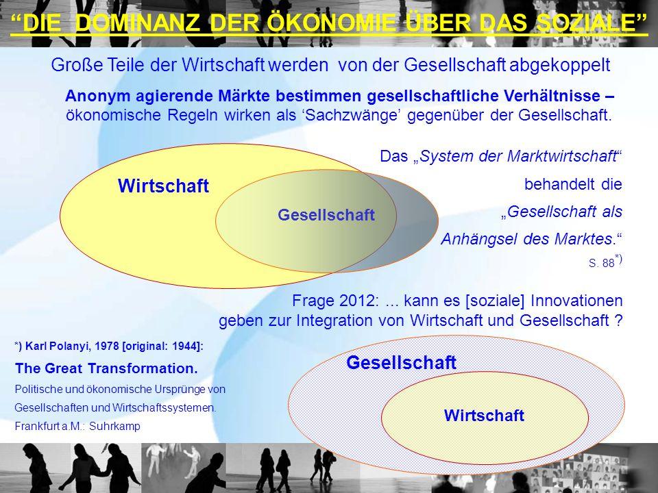 DIE DOMINANZ DER ÖKONOMIE ÜBER DAS SOZIALE Wirtschaft Frage 2012:... kann es [soziale] Innovationen geben zur Integration von Wirtschaft und Gesellsch