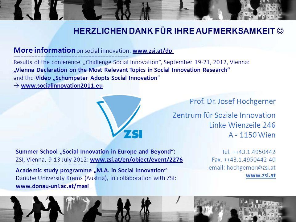 Prof. Dr. Josef Hochgerner Zentrum für Soziale Innovation Linke Wienzeile 246 A - 1150 Wien Tel.