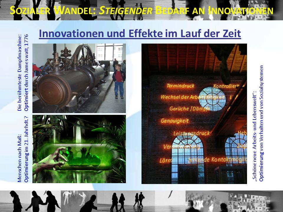 Die berühmteste Dampfmaschine:Optimiert durch James watt, 1776 Menschen nach Maß:Optimierung im 21. Jahrhdt.? Schöne neue Arbeits- und Lebenswelt:Opti