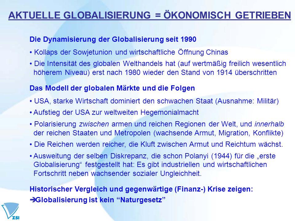 Die Dynamisierung der Globalisierung seit 1990 Kollaps der Sowjetunion und wirtschaftliche Öffnung Chinas Die Intensität des globalen Welthandels hat