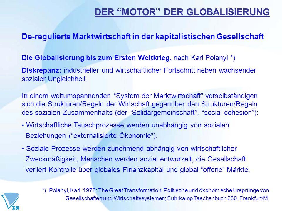 De-regulierte Marktwirtschaft in der kapitalistischen Gesellschaft Die Globalisierung bis zum Ersten Weltkrieg, nach Karl Polanyi *) Diskrepanz: indus