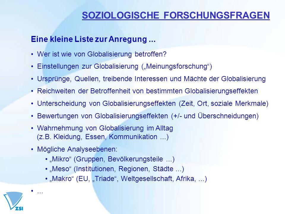 SOZIOLOGISCHE FORSCHUNGSFRAGEN Eine kleine Liste zur Anregung... Wer ist wie von Globalisierung betroffen? Einstellungen zur Globalisierung (Meinungsf
