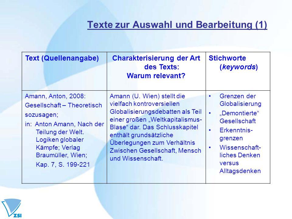 Texte zur Auswahl und Bearbeitung (1) Text (Quellenangabe)Charakterisierung der Art des Texts: Warum relevant? Stichworte (keywords) Amann, Anton, 200