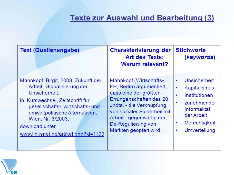 Texte zur Auswahl und Bearbeitung (3) Text (Quellenangabe)Charakterisierung der Art des Texts: Warum relevant? Stichworte (keywords) Mahnkopf, Birgit,