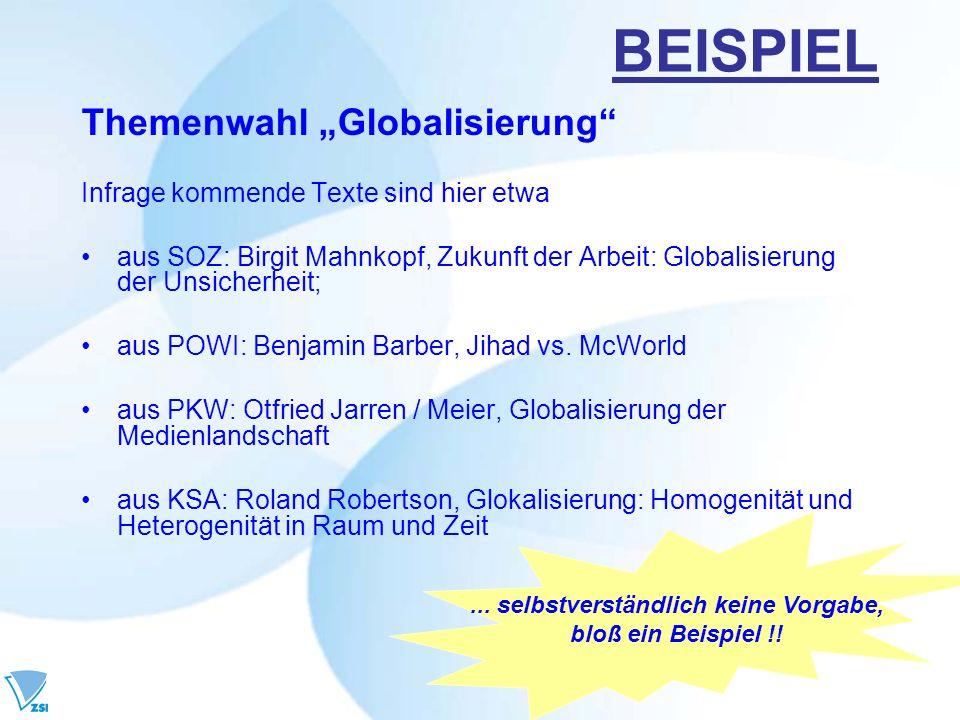 BEISPIEL Themenwahl Globalisierung Infrage kommende Texte sind hier etwa aus SOZ: Birgit Mahnkopf, Zukunft der Arbeit: Globalisierung der Unsicherheit