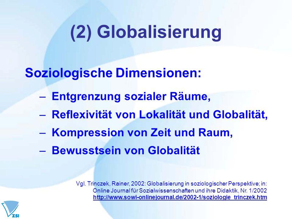 (2) Globalisierung Soziologische Dimensionen: – Entgrenzung sozialer Räume, – Reflexivität von Lokalität und Globalität, – Kompression von Zeit und Ra