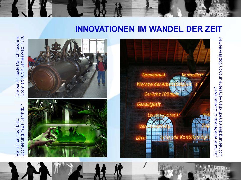 INNOVATIONEN IM WANDEL DER ZEIT Die berühmteste Dampfmaschine:Optimiert durch James Watt, 1776 Menschen nach Maß:Optimierung im 21. Jahrhdt. ? Schöne