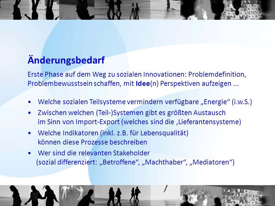 Änderungsbedarf Erste Phase auf dem Weg zu sozialen Innovationen: Problemdefinition, Problembewusstsein schaffen, mit Idee(n) Perspektiven aufzeigen..