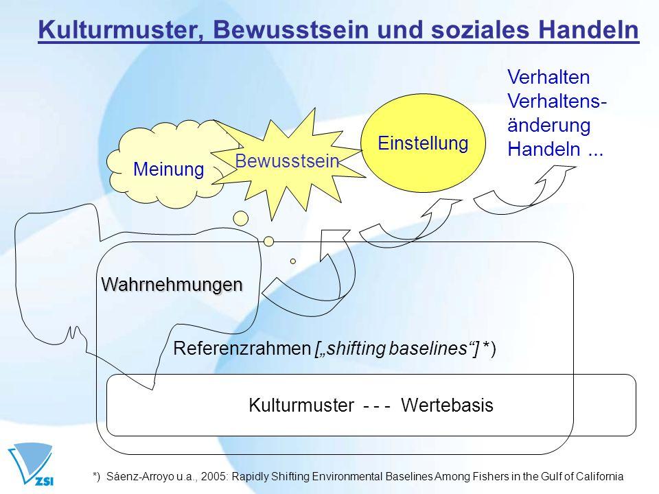 Kulturmuster, Bewusstsein und soziales Handeln Kulturmuster - - - Wertebasis Referenzrahmen [shifting baselines] *) Wahrnehmungen Meinung Einstellung