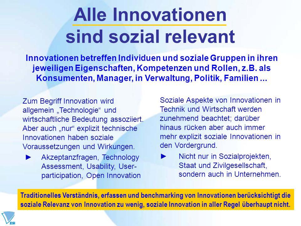 Alle Innovationen sind sozial relevant Zum Begriff Innovation wird allgemein Technologie und wirtschaftliche Bedeutung assoziiert. Aber auch nur expli