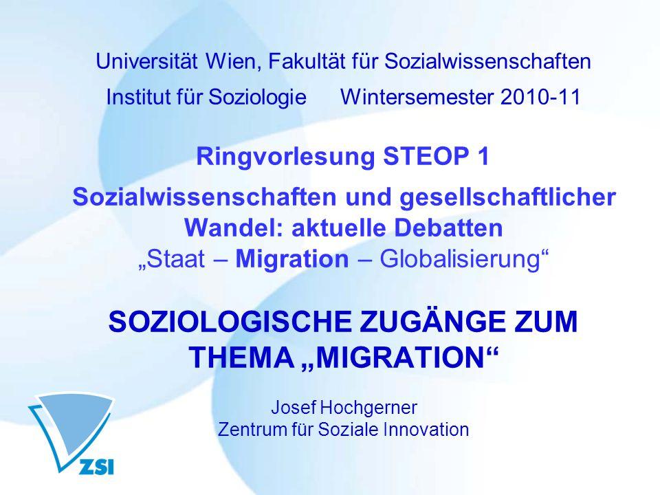 Universität Wien, Fakultät für Sozialwissenschaften Institut für Soziologie Wintersemester 2010-11 Ringvorlesung STEOP 1 Sozialwissenschaften und gese
