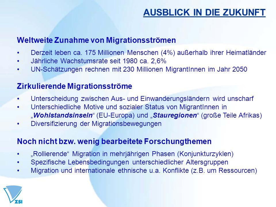 AUSBLICK IN DIE ZUKUNFT Weltweite Zunahme von Migrationsströmen Derzeit leben ca. 175 Millionen Menschen (4%) außerhalb ihrer Heimatländer Jährliche W