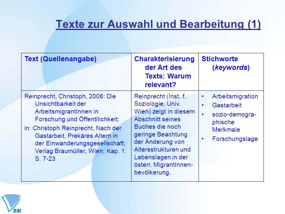 Texte zur Auswahl und Bearbeitung (1) Text (Quellenangabe)Charakterisierung der Art des Texts: Warum relevant? Stichworte (keywords) Reinprecht, Chris