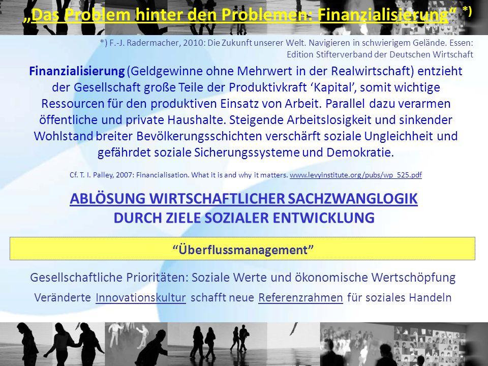 *) F.-J. Radermacher, 2010: Die Zukunft unserer Welt. Navigieren in schwierigem Gelände. Essen: Edition Stifterverband der Deutschen Wirtschaft Finanz