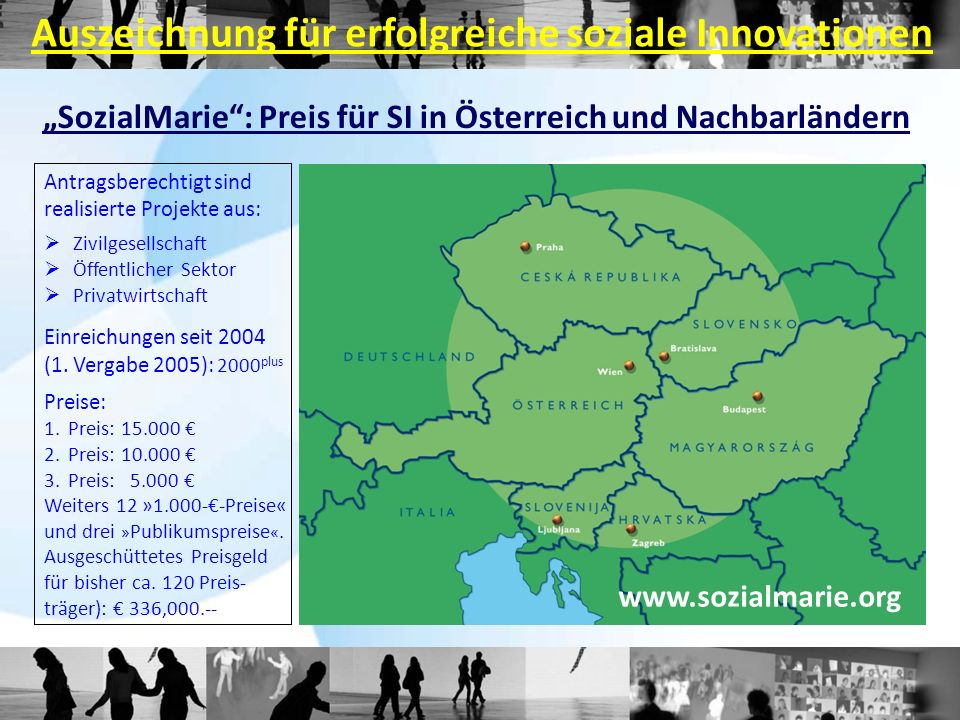 SozialMarie: Preis für SI in Österreich und Nachbarländern Antragsberechtigt sind realisierte Projekte aus: Zivilgesellschaft Öffentlicher Sektor Priv