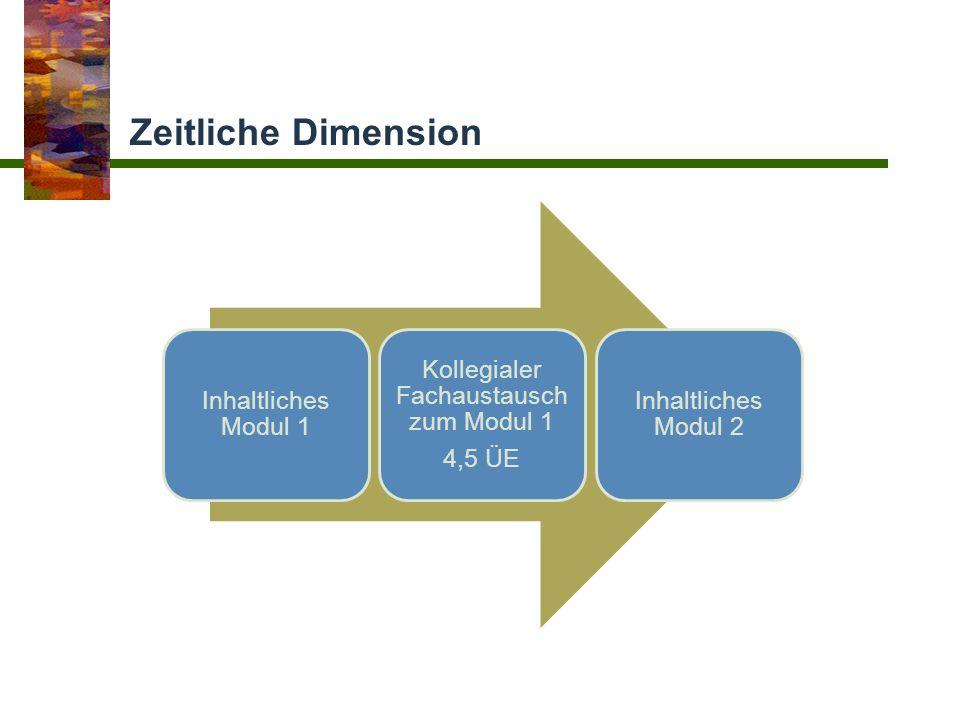 Zeitliche Dimension Inhaltliches Modul 1 Kollegialer Fachaustausch zum Modul 1 4,5 ÜE Inhaltliches Modul 2