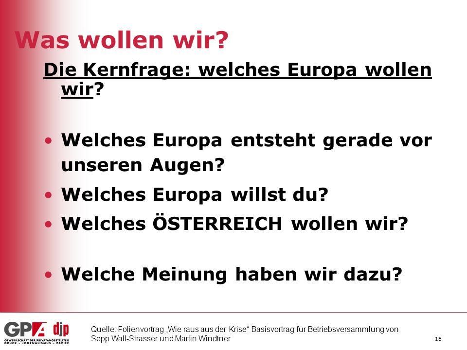 16 Was wollen wir.Die Kernfrage: welches Europa wollen wir.