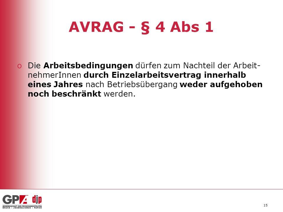 15 AVRAG - § 4 Abs 1 oDie Arbeitsbedingungen dürfen zum Nachteil der Arbeit- nehmerInnen durch Einzelarbeitsvertrag innerhalb eines Jahres nach Betriebsübergang weder aufgehoben noch beschränkt werden.