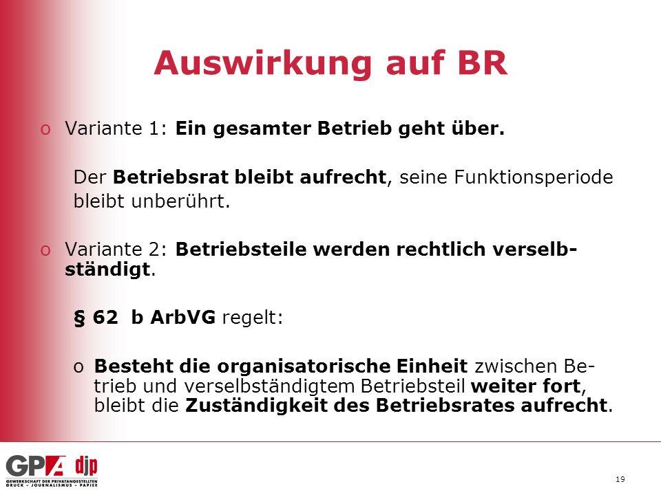 19 Auswirkung auf BR oVariante 1: Ein gesamter Betrieb geht über.