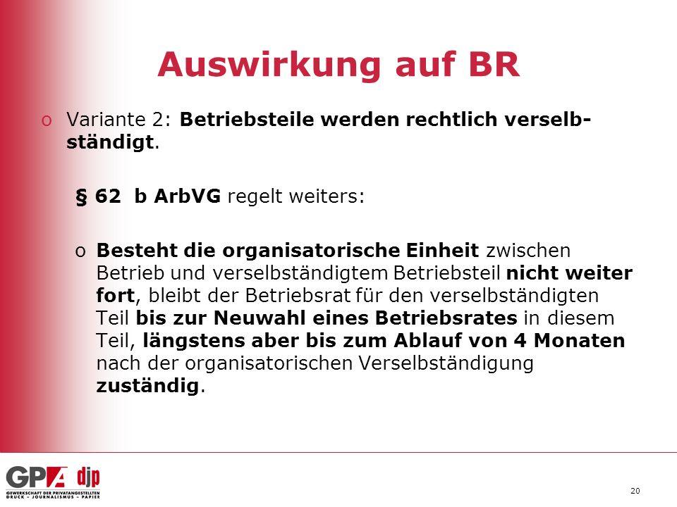20 Auswirkung auf BR oVariante 2: Betriebsteile werden rechtlich verselb- ständigt.