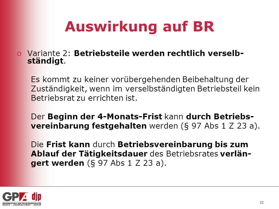 21 Auswirkung auf BR oVariante 2: Betriebsteile werden rechtlich verselb- ständigt.