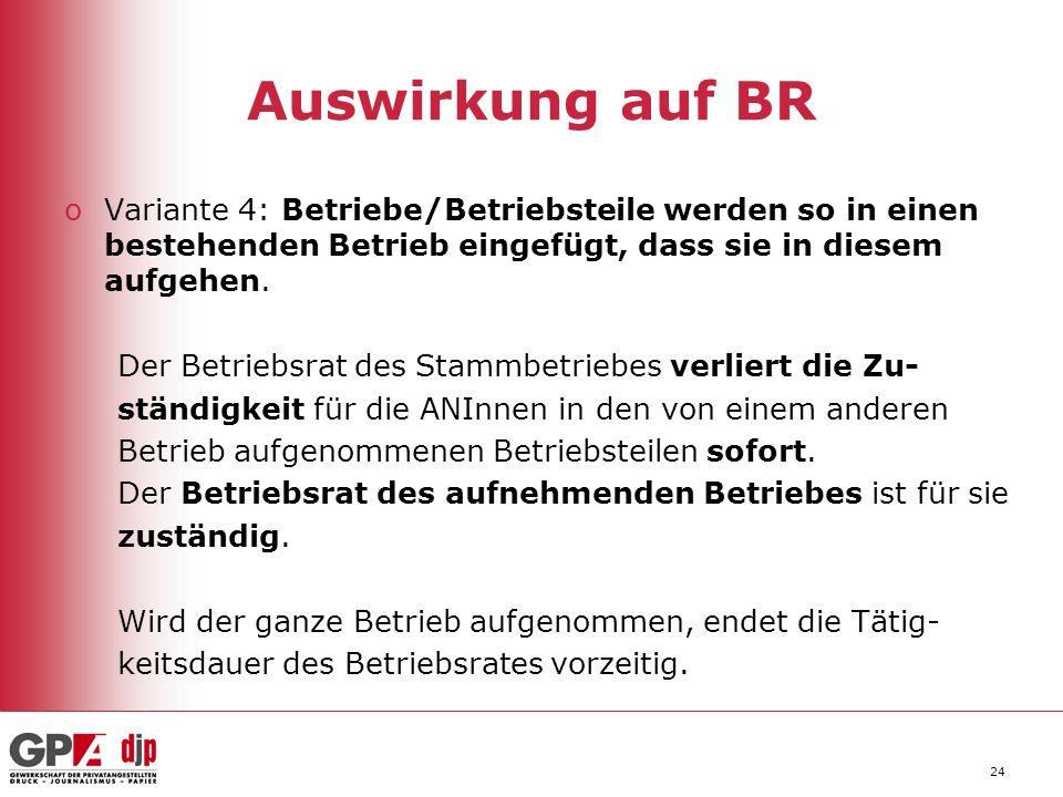 24 Auswirkung auf BR oVariante 4: Betriebe/Betriebsteile werden so in einen bestehenden Betrieb eingefügt, dass sie in diesem aufgehen.
