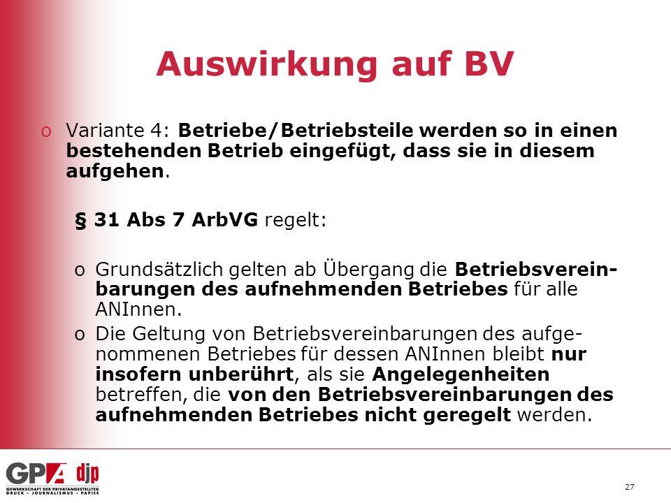 27 Auswirkung auf BV oVariante 4: Betriebe/Betriebsteile werden so in einen bestehenden Betrieb eingefügt, dass sie in diesem aufgehen.
