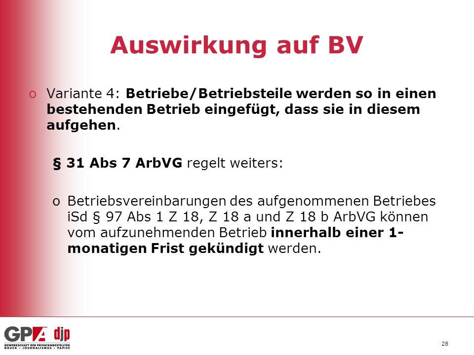 28 Auswirkung auf BV oVariante 4: Betriebe/Betriebsteile werden so in einen bestehenden Betrieb eingefügt, dass sie in diesem aufgehen.