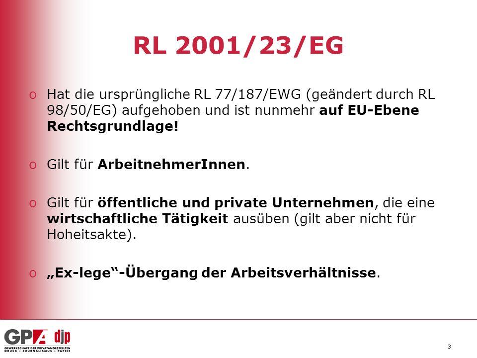 3 RL 2001/23/EG oHat die ursprüngliche RL 77/187/EWG (geändert durch RL 98/50/EG) aufgehoben und ist nunmehr auf EU-Ebene Rechtsgrundlage.