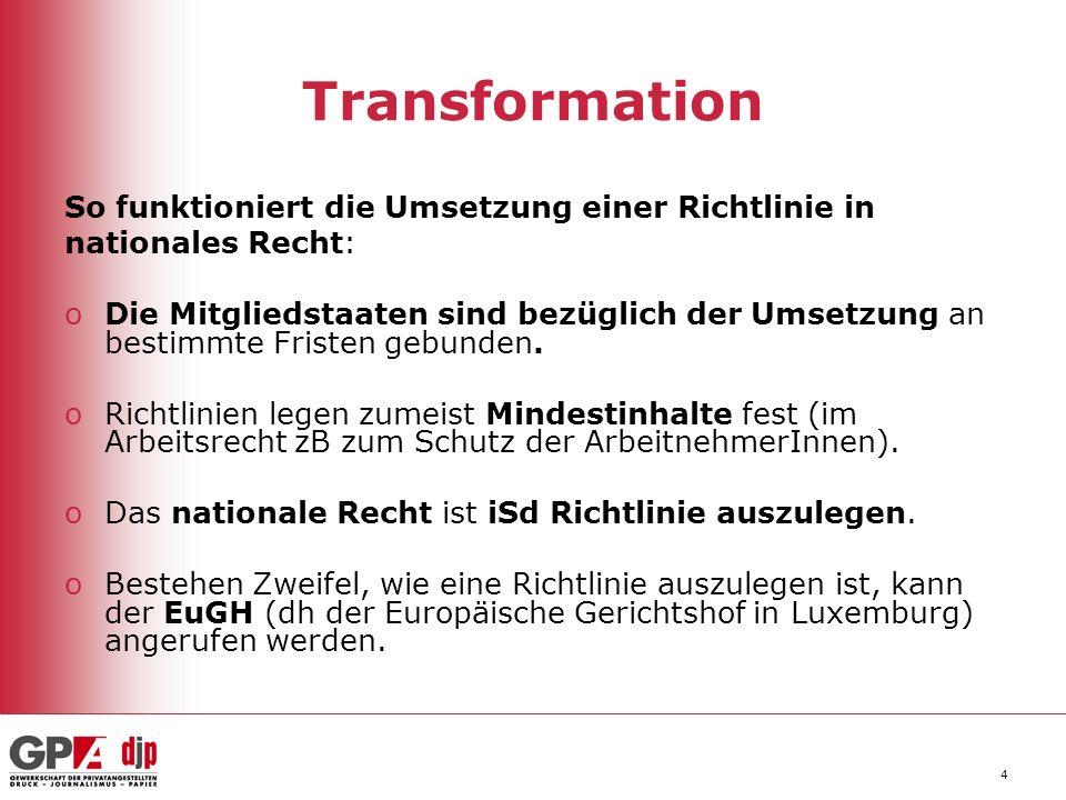 4 Transformation So funktioniert die Umsetzung einer Richtlinie in nationales Recht: oDie Mitgliedstaaten sind bezüglich der Umsetzung an bestimmte Fristen gebunden.
