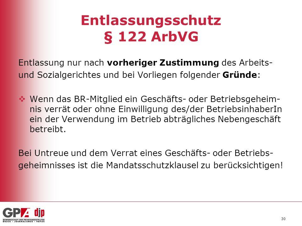 30 Entlassungsschutz § 122 ArbVG Entlassung nur nach vorheriger Zustimmung des Arbeits- und Sozialgerichtes und bei Vorliegen folgender Gründe: Wenn d