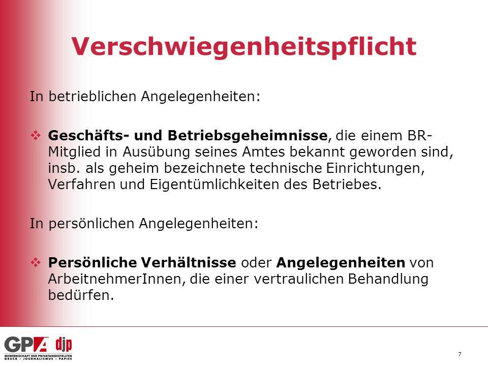28 Kündigungsschutz § 121 ArbVG Beharrliche Pflichtverletzung: Zustimmung zur Kündigung nur dann, wenn das BR-Mitglied aufgrund des Dienstverhältnisses ob- liegende Pflichten verletzt, die Verletzung beharrlich erfolgt und dem/der BetriebsinhaberIn eine Weiterbeschäftigung aus Gründen der Arbeitsdisziplin nicht zugemutet werden kann.