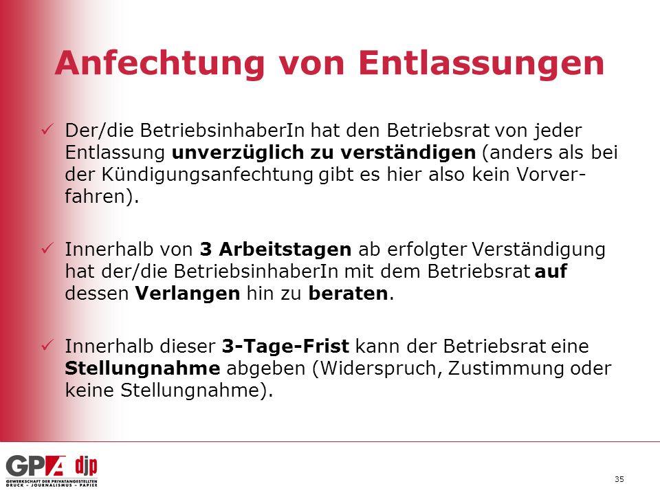 35 Anfechtung von Entlassungen Der/die BetriebsinhaberIn hat den Betriebsrat von jeder Entlassung unverzüglich zu verständigen (anders als bei der Kün