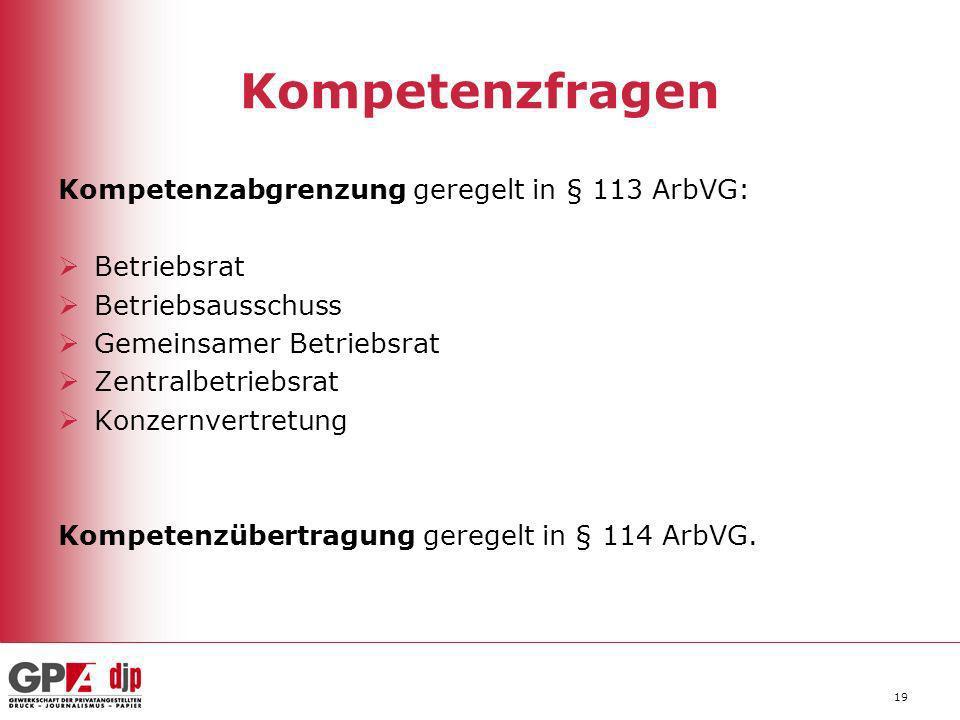 19 Kompetenzfragen Kompetenzabgrenzung geregelt in § 113 ArbVG: Betriebsrat Betriebsausschuss Gemeinsamer Betriebsrat Zentralbetriebsrat Konzernvertre