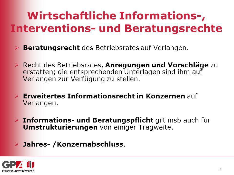 4 Wirtschaftliche Informations-, Interventions- und Beratungsrechte Beratungsrecht des Betriebsrates auf Verlangen. Recht des Betriebsrates, Anregunge