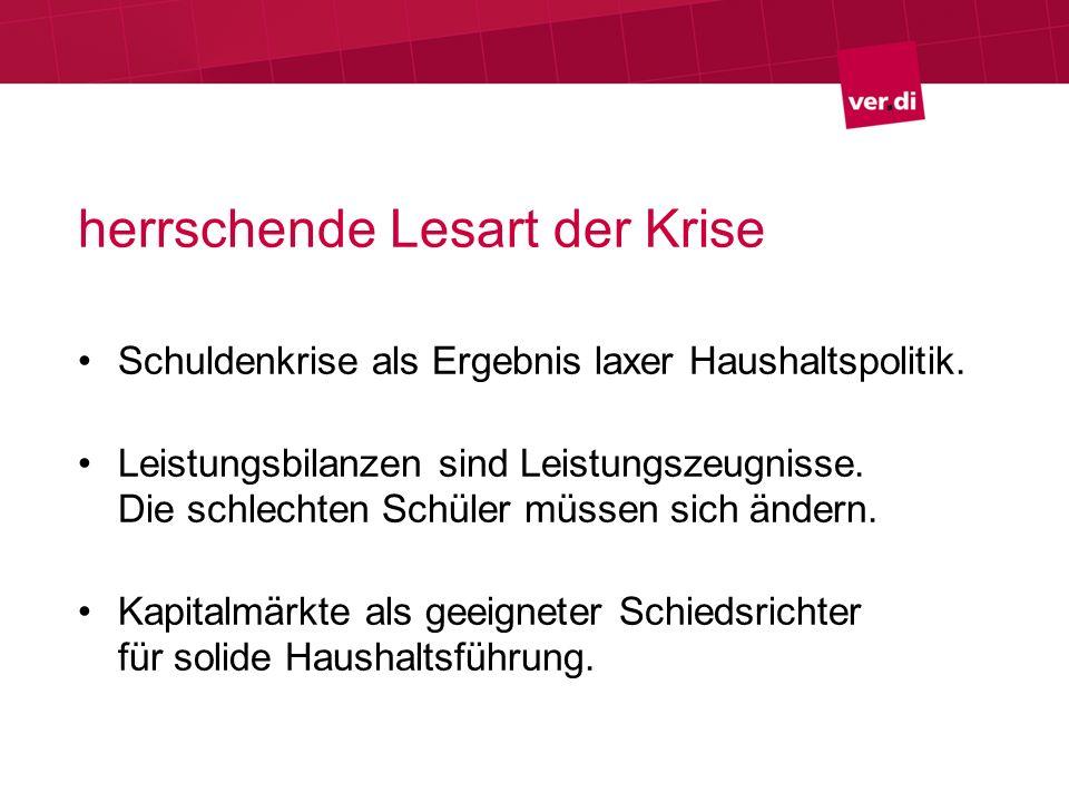 herrschende Lesart der Krise Schuldenkrise als Ergebnis laxer Haushaltspolitik.
