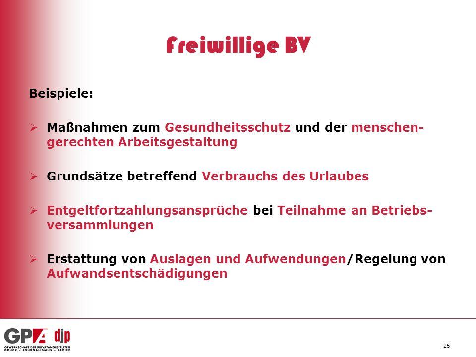 25 Freiwillige BV Beispiele: Maßnahmen zum Gesundheitsschutz und der menschen- gerechten Arbeitsgestaltung Grundsätze betreffend Verbrauchs des Urlaub