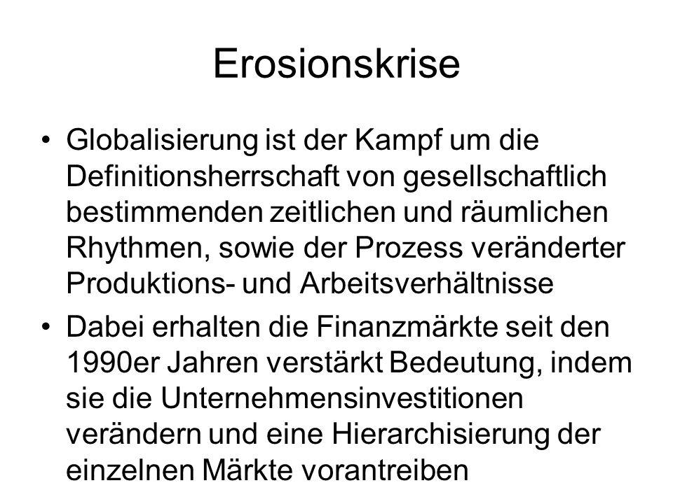 Erosionskrise Globalisierung ist der Kampf um die Definitionsherrschaft von gesellschaftlich bestimmenden zeitlichen und räumlichen Rhythmen, sowie der Prozess veränderter Produktions- und Arbeitsverhältnisse Dabei erhalten die Finanzmärkte seit den 1990er Jahren verstärkt Bedeutung, indem sie die Unternehmensinvestitionen verändern und eine Hierarchisierung der einzelnen Märkte vorantreiben
