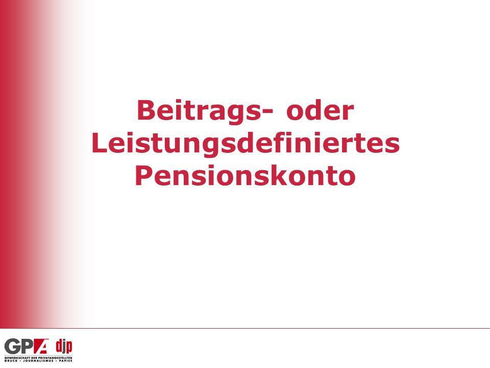 Beitrags- oder Leistungsdefiniertes Pensionskonto