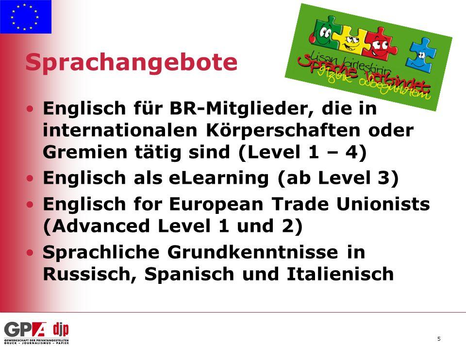 5 Sprachangebote Englisch für BR-Mitglieder, die in internationalen Körperschaften oder Gremien tätig sind (Level 1 – 4) Englisch als eLearning (ab Level 3) Englisch for European Trade Unionists (Advanced Level 1 und 2) Sprachliche Grundkenntnisse in Russisch, Spanisch und Italienisch