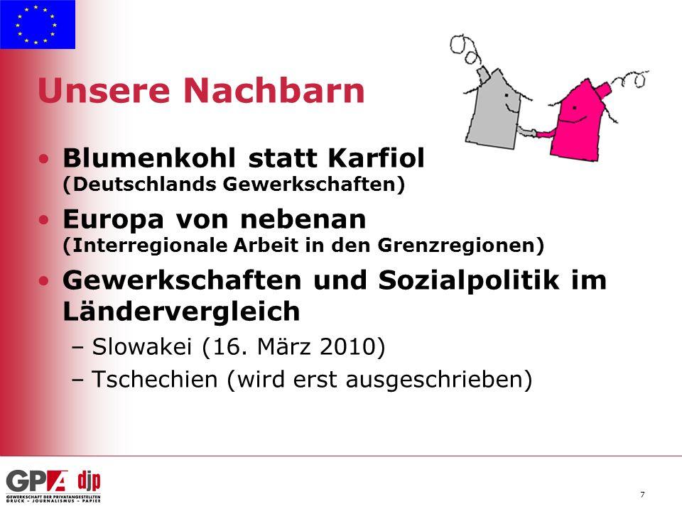 7 Unsere Nachbarn Blumenkohl statt Karfiol (Deutschlands Gewerkschaften) Europa von nebenan (Interregionale Arbeit in den Grenzregionen) Gewerkschaften und Sozialpolitik im Ländervergleich –Slowakei (16.