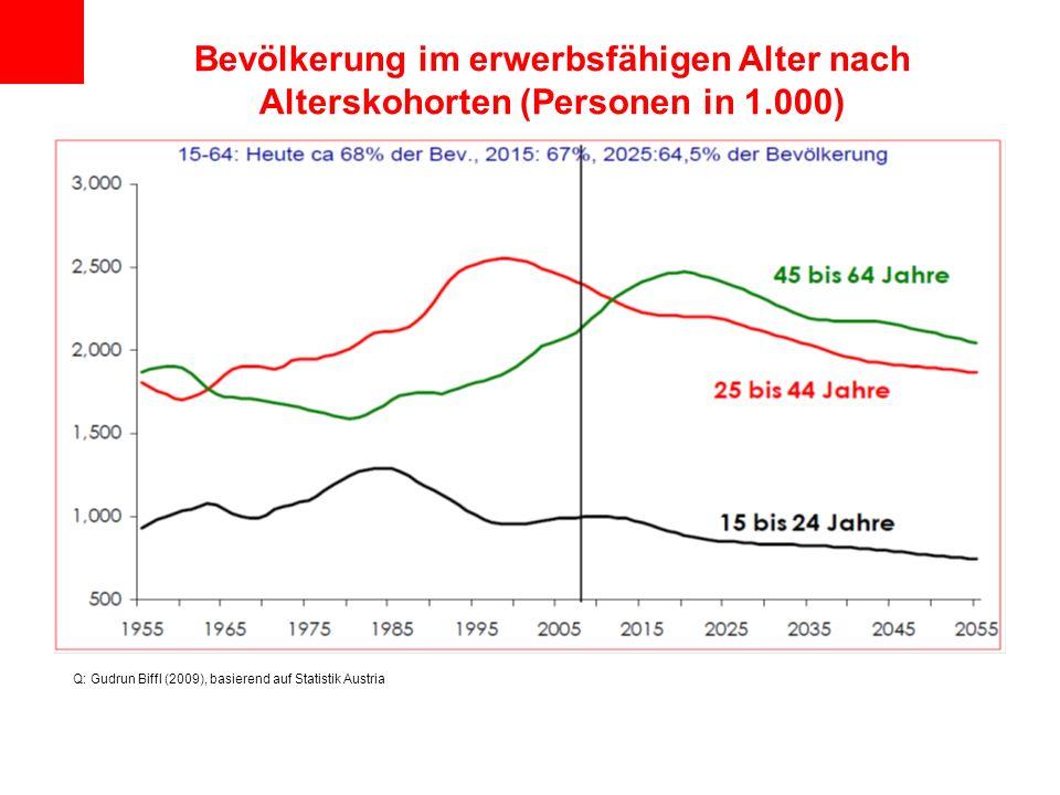 Bevölkerung im erwerbsfähigen Alter nach Alterskohorten (Personen in 1.000) Q: Gudrun Biffl (2009), basierend auf Statistik Austria