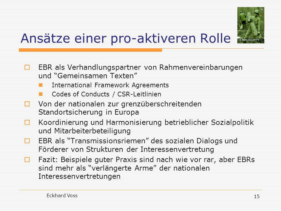 Eckhard Voss 15 Ansätze einer pro-aktiveren Rolle EBR als Verhandlungspartner von Rahmenvereinbarungen und Gemeinsamen Texten International Framework