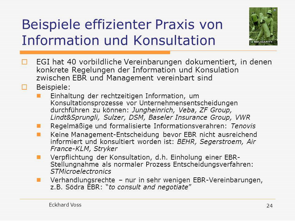 Eckhard Voss 24 Beispiele effizienter Praxis von Information und Konsultation EGI hat 40 vorbildliche Vereinbarungen dokumentiert, in denen konkrete R
