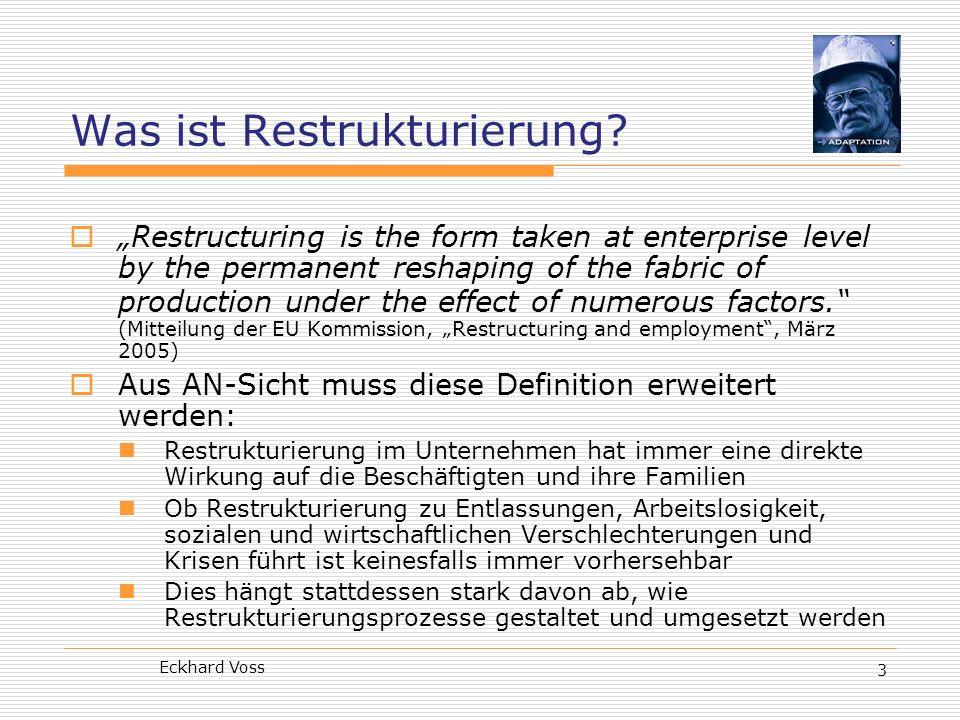 Eckhard Voss 14 Potenziale der EBR-Praxis Wirkungen guter EBR-Praxis: Stärkung der betrieblichen Interessenvertretung Bessere Information der Beschäftigten Koordinierung und Austausch zwischen Standorten Besseres Verständnis des Strukturwandels Kompetenzentwicklung und Resourcen Einflüsse auf Unternehmenspolitik und -kultur Förderung sozialer Dialogstrukturen Stärkung der Interessenvertretung gegenüber dem Management Suche nach gemeinsamen Lösungen in Restrukturierungs- und Wandelprozessen Aber: 81% aller befragten EBR-Mitglieder berichten von Restrukturierungsfällen Aber rund ¾ aller EBR-Mitglieder wurden vor der Entscheidung des Managements übernhaupt nicht informiert Lediglich 0,8% der EBR-Vertreter glauben, dass der EBR ein effektives Instrument der Einflussnahme auf Managemententscheidungen ist Quelle: Jeremy Waddington: How EWC members see it, Mitbestimmung 8/2006