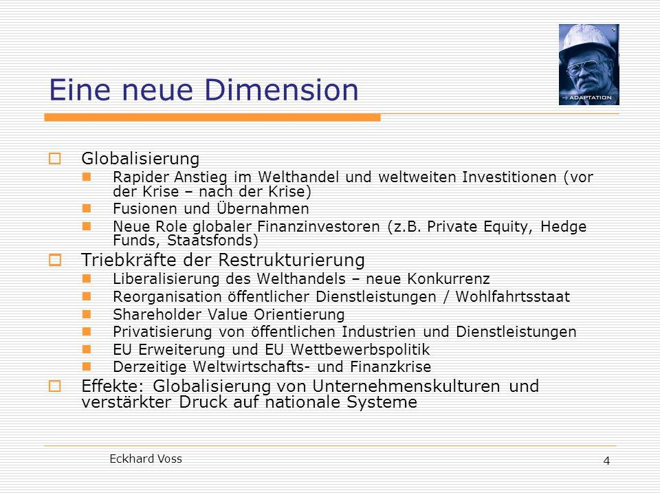 Eckhard Voss 4 Eine neue Dimension Globalisierung Rapider Anstieg im Welthandel und weltweiten Investitionen (vor der Krise – nach der Krise) Fusionen