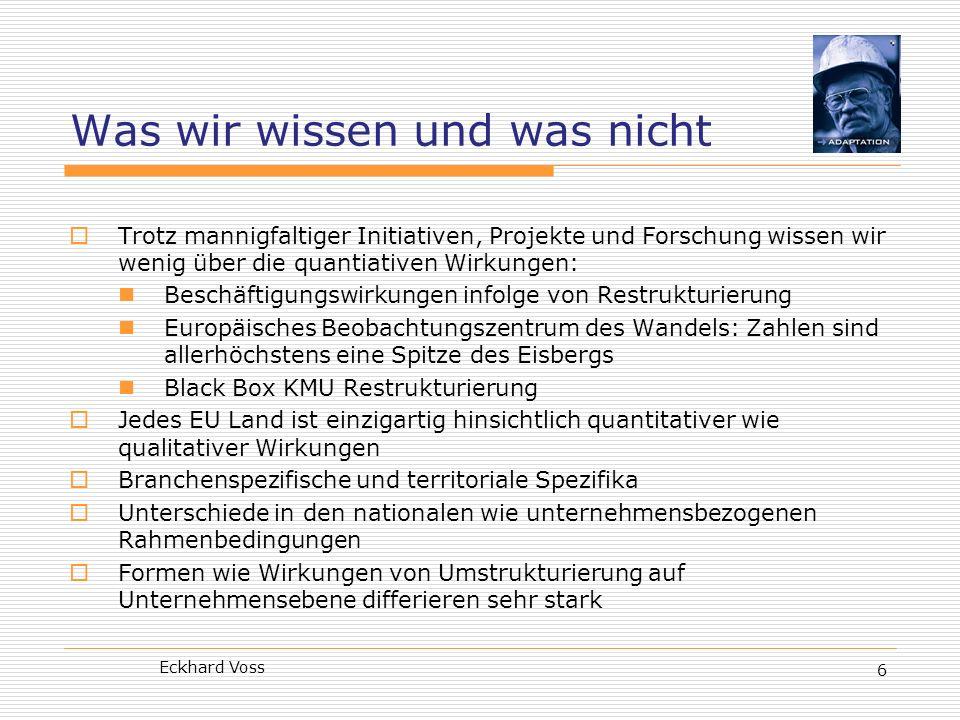 Eckhard Voss 6 Was wir wissen und was nicht Trotz mannigfaltiger Initiativen, Projekte und Forschung wissen wir wenig über die quantiativen Wirkungen: