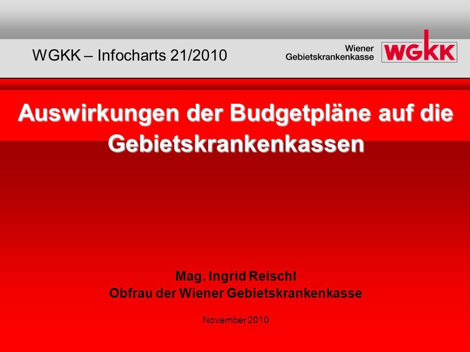 Auswirkungen der Budgetpläne auf die Gebietskrankenkassen Auswirkungen der Budgetpläne auf die Gebietskrankenkassen Mag. Ingrid Reischl Obfrau der Wie