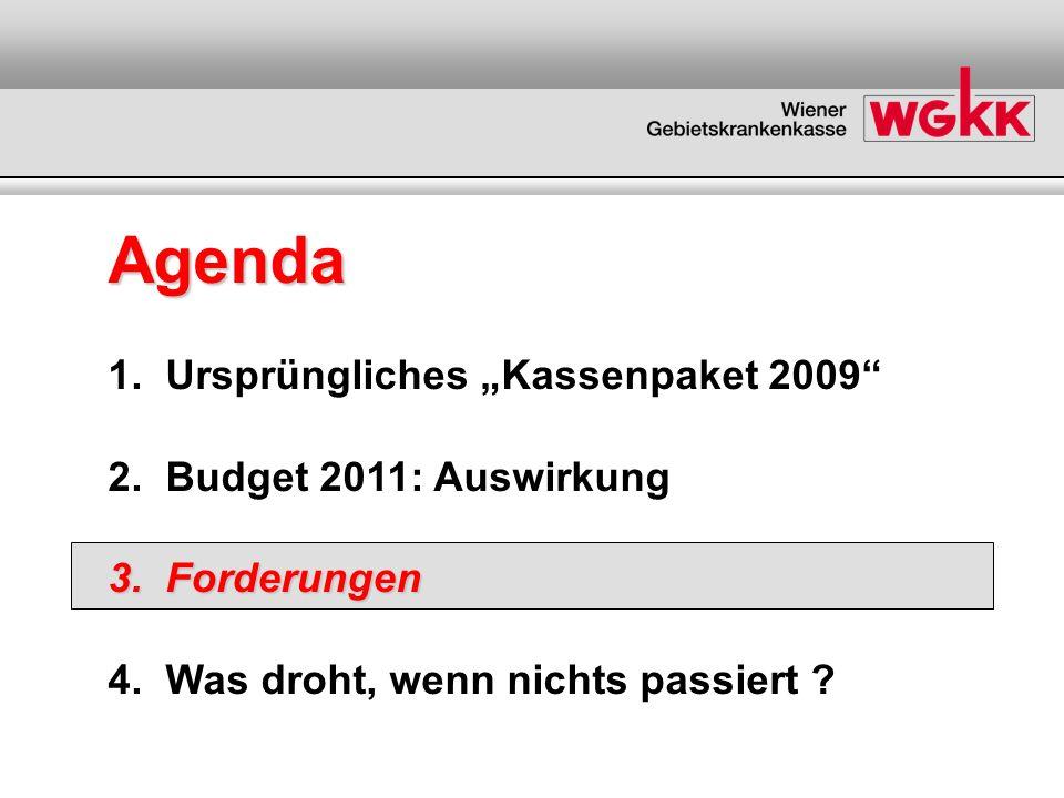 Agenda 1. Ursprüngliches Kassenpaket 2009 2. Budget 2011: Auswirkung 3. Forderungen 4. Was droht, wenn nichts passiert ?